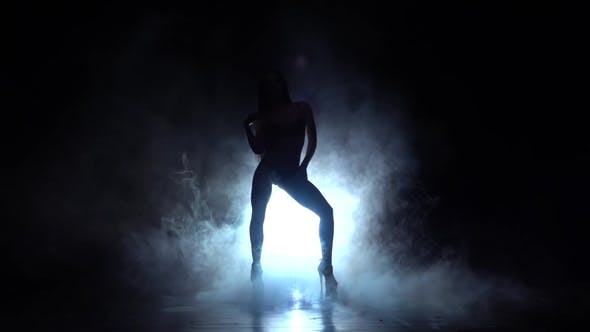 Thumbnail for Girl Dancing Sexy Dance in High Heels. Black Smoke Background. Silhouette.