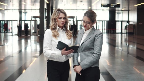 Thumbnail for Business Meeting of Two Business Women in the Lobby of an Office Building