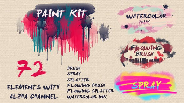 Thumbnail for Paint Kit: Watercolor Ink, Brush, Splatter, Spray