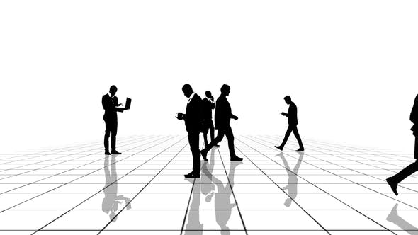 Thumbnail for Black and White Grid with Business People Silhouettes Moving Towards the Camera