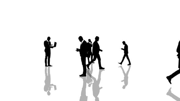 Thumbnail for Business People Silhouettes Moving Towards the Camera. Seamlessly Loopable Animation.