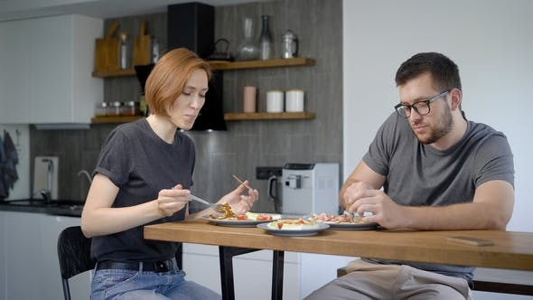 Thumbnail for Happy Family of Two Eating Breakfast at Home