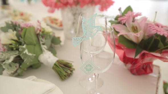 Thumbnail for Wedding Decorations From White and Red Flowers Ceremony Floristics