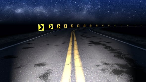 Cover Image for Night Curved Road with Starry Sky Loop