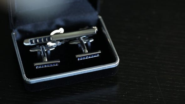 Thumbnail for Men's Cufflinks for a Shirton a Black Background  Slider