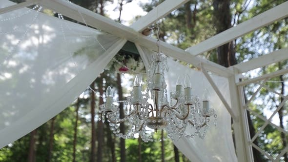 Thumbnail for A Vintage Chandelier on Black Ceiling in Old Castle