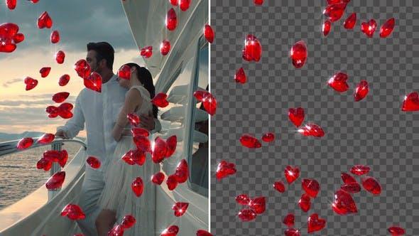 Diamant-Herzen fallen