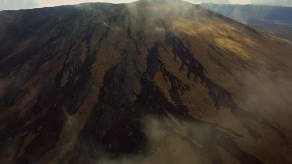 Aerial view of Piton de la Fournaise on Reunion island.