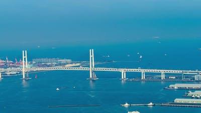 time lapse of Yokohama Bay Bridge in Japan