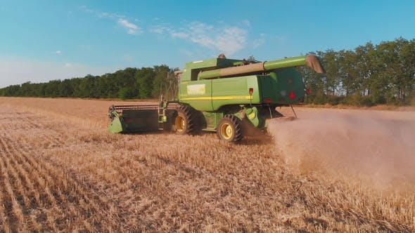 Thumbnail for Combine Harvester Working in a Field at sunset