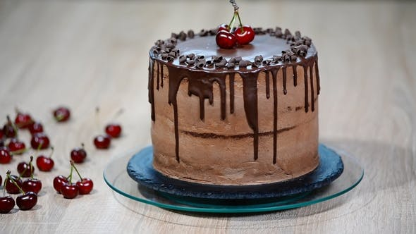 Thumbnail for Chocolate Cake with Cherries and Chocolate Cream
