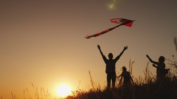 Thumbnail for Family with a Child Playing with a Kite. In a Picturesque Place at Sunset