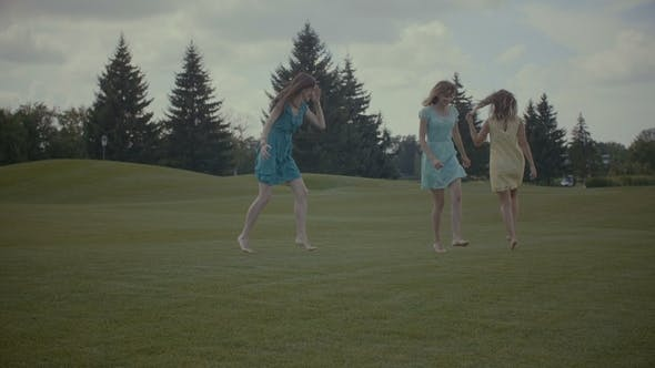 Thumbnail for Excited Pretty Women Enjoying Freedom in Nature