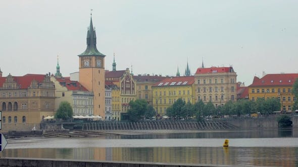 Thumbnail for View on Prague From Shore of Vltava in Cloudy Summer Day
