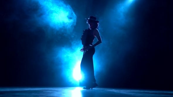 Cover Image for Girl in an Incendiary Dance of Argentine Flamenco . Llight From Behind. Smoke Background. Silhouette