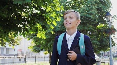 Schoolboy Goes To School