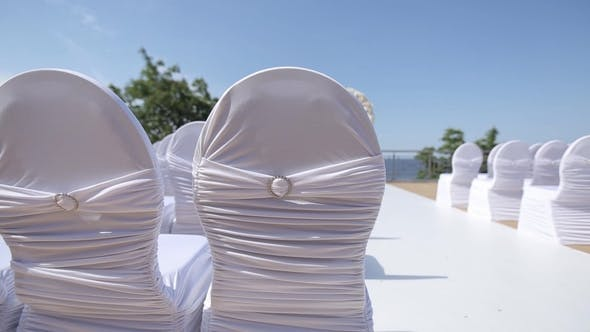 Thumbnail for Place of Wedding Ceremony and Decorated Chairs Wedding Decorations for the Bride Bijouterie, Ribbons