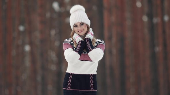 Thumbnail for Portrait of a Cute and Charming Young Girl in Winter Forest