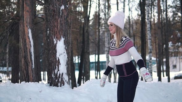 Thumbnail for Girl Skates on a Skating Rink in a Winter Forest