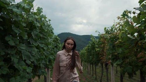 Running Girl in the Vineyard of Wachau Valley Austria