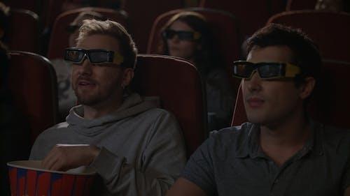 Friends Watching 3d Movie in Cinema. 3d Cinema Entertainment Concep