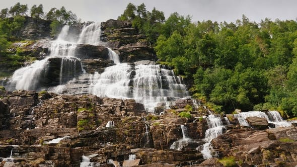 The Stepped Waterfall of the Twindorfensen Is Norway's Highest Waterfall