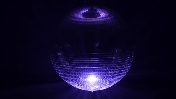 Thumbnail for 3D Disco Mirror Ball Reflecting Colorful Lights Smoke on Black Background
