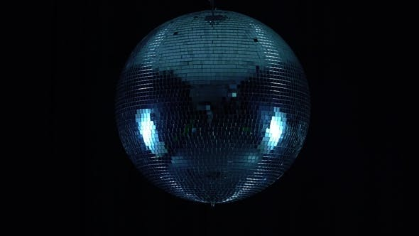 Thumbnail for Party Lights Disco Ball on Black Background