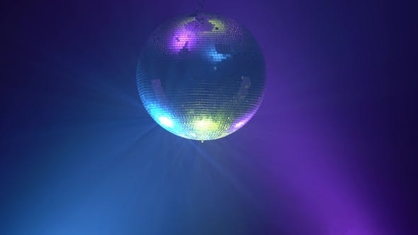 Thumbnail for 3D Disco Mirror Ball Reflecting Colorful Lights in Smoke