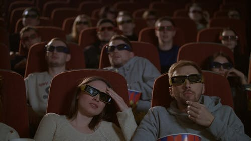 Spectators in 3D Glasses Strained Watching Scary Film