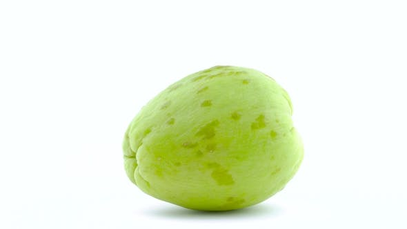 Thumbnail for One Whole Chayote Fruit. Rotating on the Turntable. Isolated on the White Background. . .