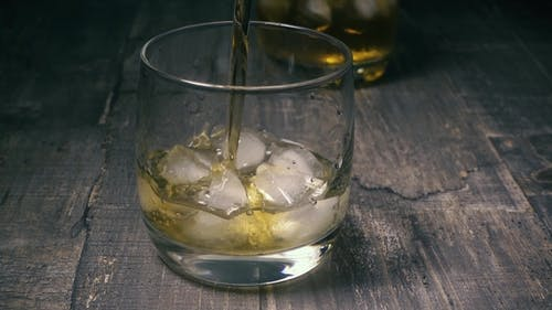 Glass with Ice Pour the Alcohol