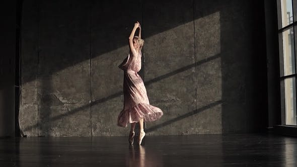 Thumbnail for A Young Ballerina in a Long Fluttering Dress Is Danced on Tiptoes in Pointe Shoes