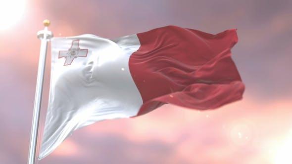Flag of Malta at Sunset