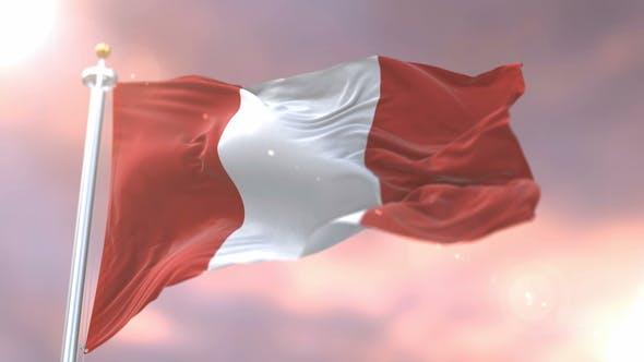 Flag of Peru at Sunset