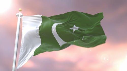 Flag of Pakistan at Sunset