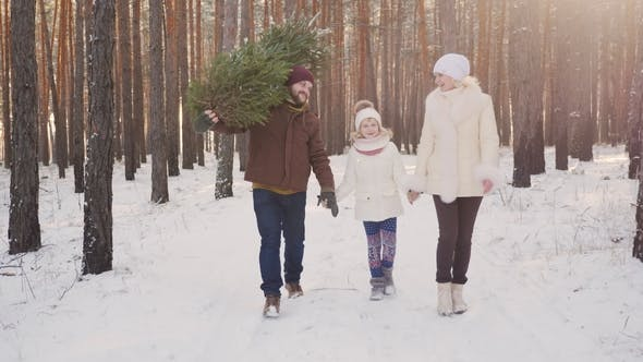 Thumbnail for A Happy Family with a Child Is Walking Along a Snow-covered Forest