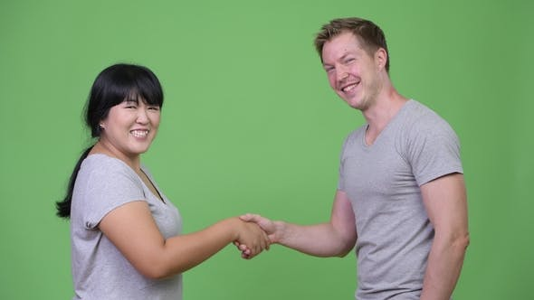Thumbnail for Young Multi-ethnic Couple Shaking Hands Together
