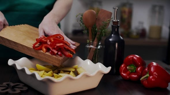 Thumbnail for The Cook Makes Meal with Red Bell Pepper and Other Vegetables