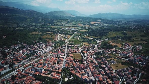 Thumbnail for Aerial Drone Footage Video - Panoramic View of Tagliacozzo, AQ. Italy