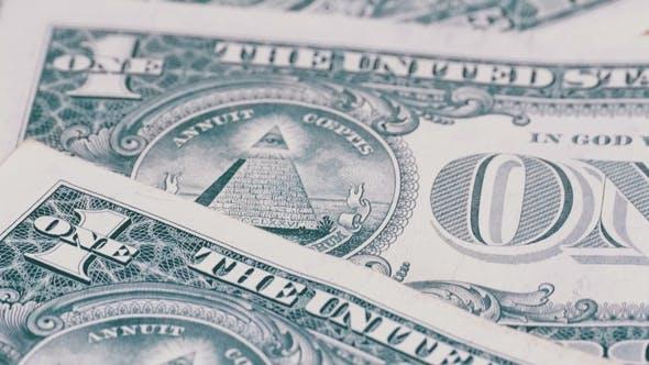Thumbnail for Alle sehen Auge auf den einen Dollar. Die Rückseite der Dollar-Stückelungen von 1 Dollar rotieren