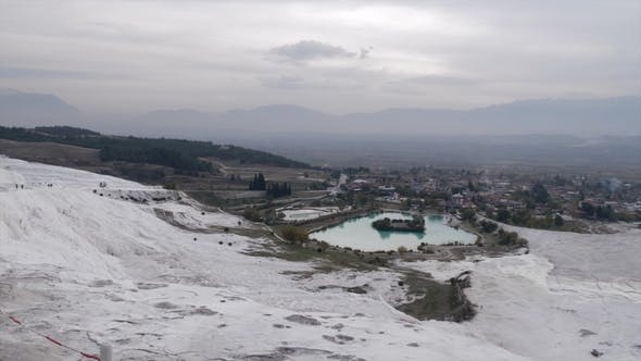 Thumbnail for Pamukkale Travertine Terraces and Town View, Turkey