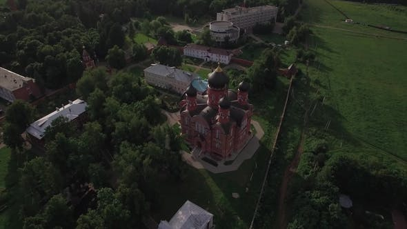 Thumbnail for Russian Lukino Village with Holy Cross Monastery and Ascension Cathedral, Aerial