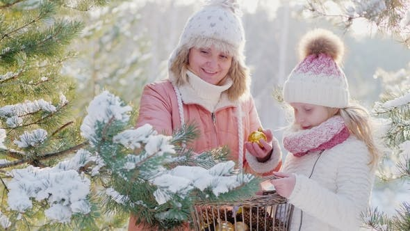Cover Image for Active Mom with Her Daughter Dresses a New Year Tree in the Yard