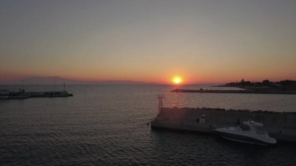 Thumbnail for Aerial Scene of Quay and Sea at Sunset