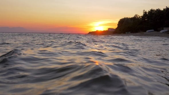 Thumbnail for Waterscape with Wavy Sea at Sunset