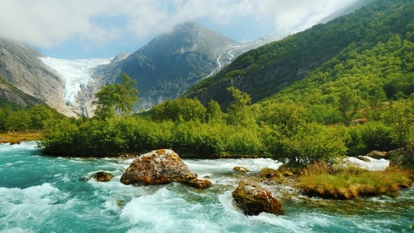 Thumbnail for Briksdal Glacier with a Mountain River in the Foreground. The Amazing Nature of Norway