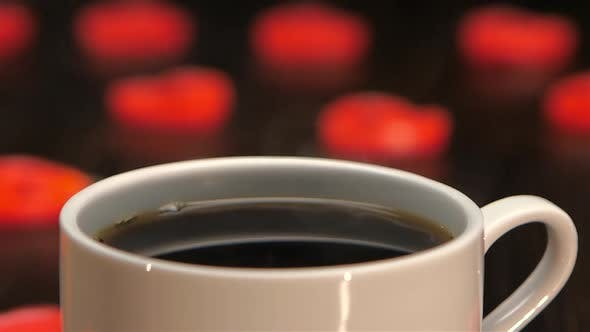 Thumbnail for Cup of Hot Coffee on a Background of Hearts. Closeup