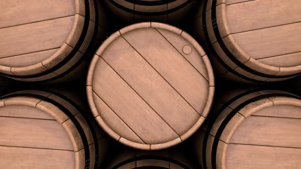 Winery Industry and Kegs with Old Aging Red Grape Wine Beer Brandy and Whiskey
