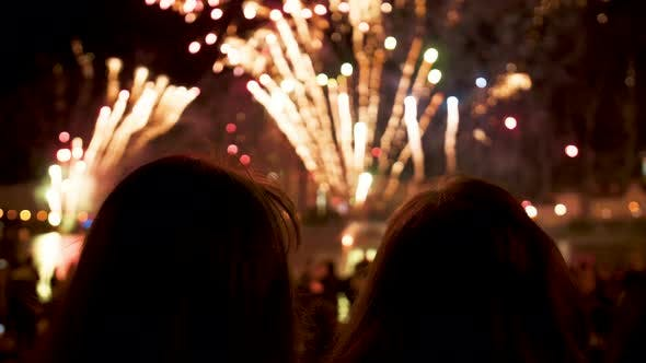 Thumbnail for People Look at the Fireworks Show on Holiday in the Evening at Night
